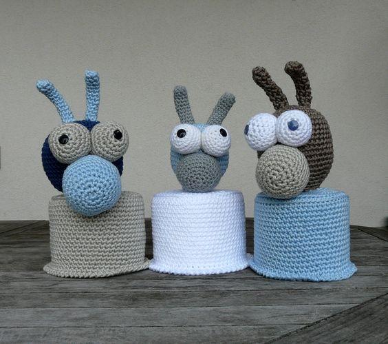 Klopapierhüte & -verstecker - Klorollenhut Schnecke groß - ein Designerstück von SchafeTasche bei DaWanda