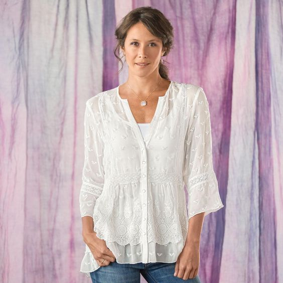 PEMBERLY TUNIC--Pure romance: diaphanous silk georgette with embroidery, lace and an inset ruffle at the hemline. Dry clean. Imported. Sizes XS (2), S (4 to 6), M (8 to 10), L (12 to 14), XL (16)