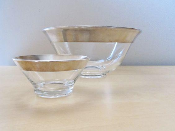 dorothy thorpe salad bowl set, silver rim bowls. $40.00, via Etsy.