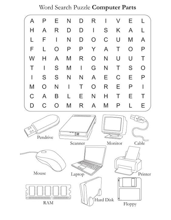 Printables Parts Of A Computer Worksheet parts of the computer worksheets download free word search puzzle parts