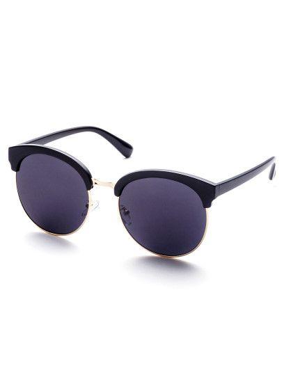 Round Lens Black Open Frame Sunglasses