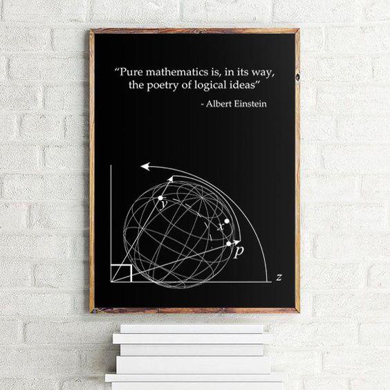 """Einstein Quote Math Poster, Science Art Poster, Math Gifts,  Scandinavian print 70x100cm, 50x70cm, A4, 24x36"""""""