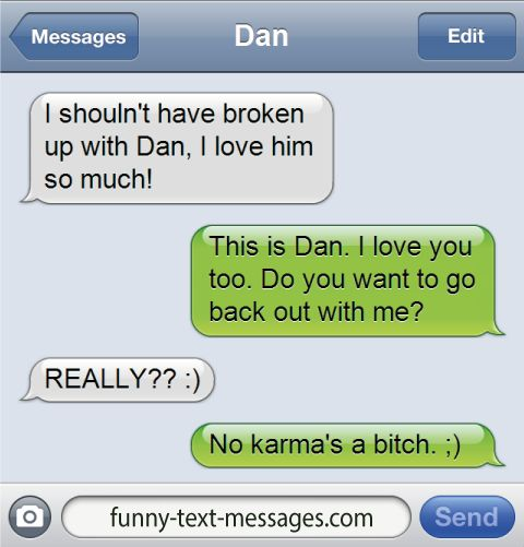 Funny Quotes About Texting: Karma's A Bitch - Funny-text-messages.com