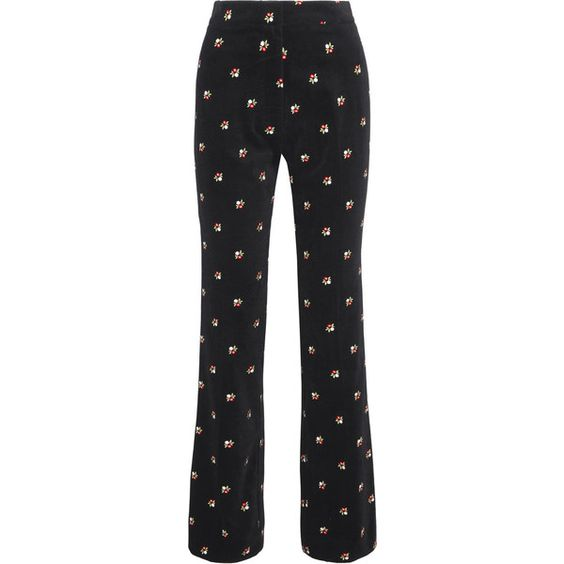 ALEXACHUNG Embroidered cotton-velvet straight-leg pants (1.090 BRL) ❤ liked on Polyvore featuring pants, jeans, alexa chung, bottoms, co-ords, black, dot pants, floral pants, polka dot pants and floral print pants