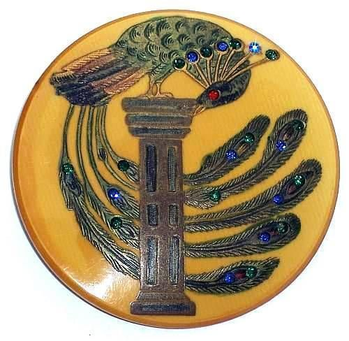 Beautiful vintage peacock button: