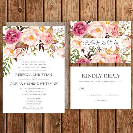 Blush Floral Wedding Invitation for Boho Chic Wedding – Etsy Rustic Wedding Invitations