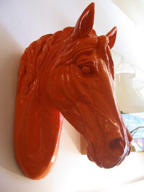 hermes handbags - Hermes Orange Horse Head Wall Sculpture.. too much?! i LOVE it ...