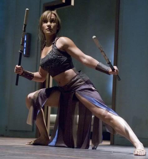 Rachel Lutrell as Teyla in Stargate Atlantis