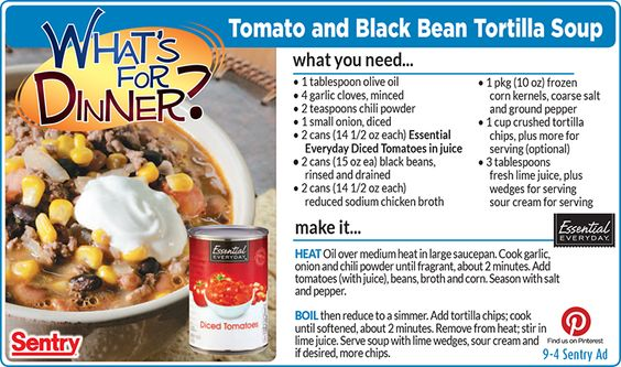 Tomato & Black Bean Tortilla Soup | What's for Dinner ...