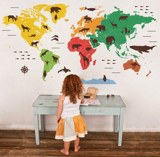 Monde animal carte wall decal enfants bébé pépinière decal