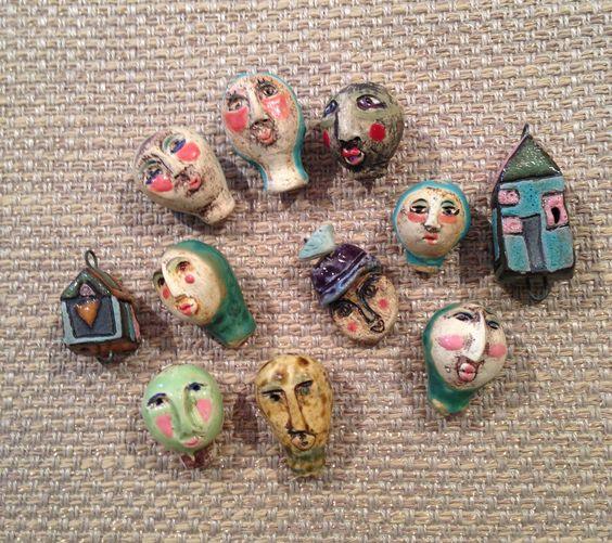 Ceramic Faces and Houses! beadsinc.com