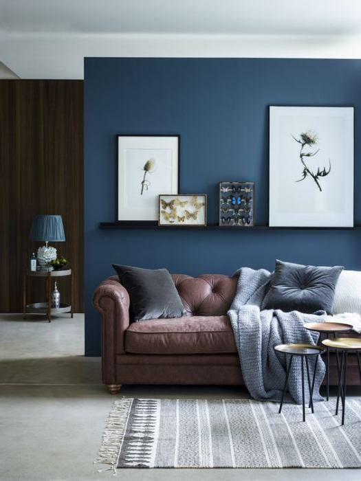Navy Accent Wall Brown Couch Living Room Brown Living Room Decor Living Room Wall Color Brown And Blue Living Room
