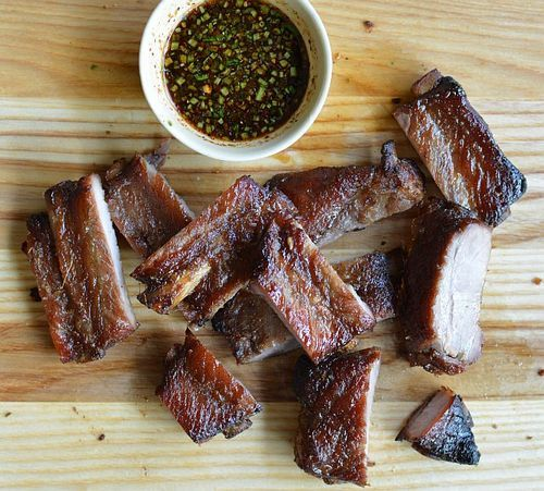 Thai-style pork ribs from Andy Ricker's Pok Pok cookbook. Yes, there ...