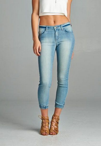 Details about Sexy Cropped Denim Joggers Skinny Jeans SLIM Fit ...