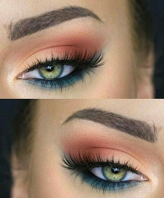 Nude upper lid fading into rusty orange crease. Bottom lid: teal/turquoise