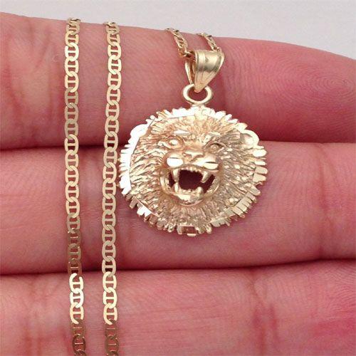 White Gold Diamond-Cut Lion Head Charm Pendant