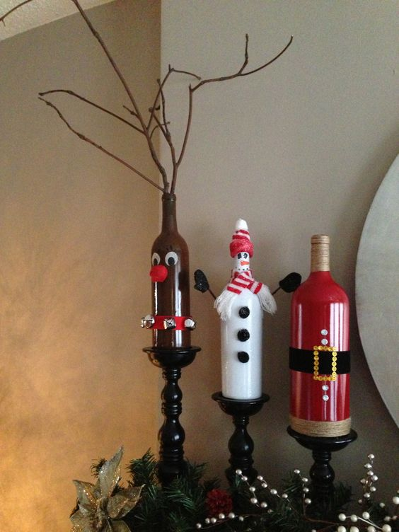 My mom designed christmas wine bottles for me rudolph for Christmas bottle decorations