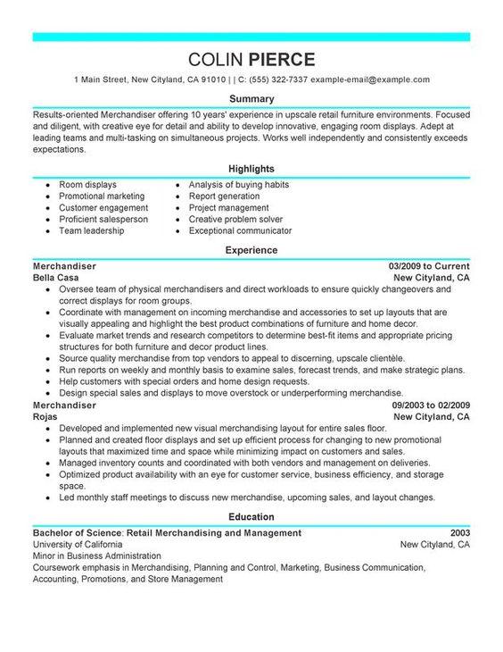 Merchandiser Retail Representative Part Time Resume Sample   My Perfect  Resume | MY PERFECT RESUME | Pinterest
