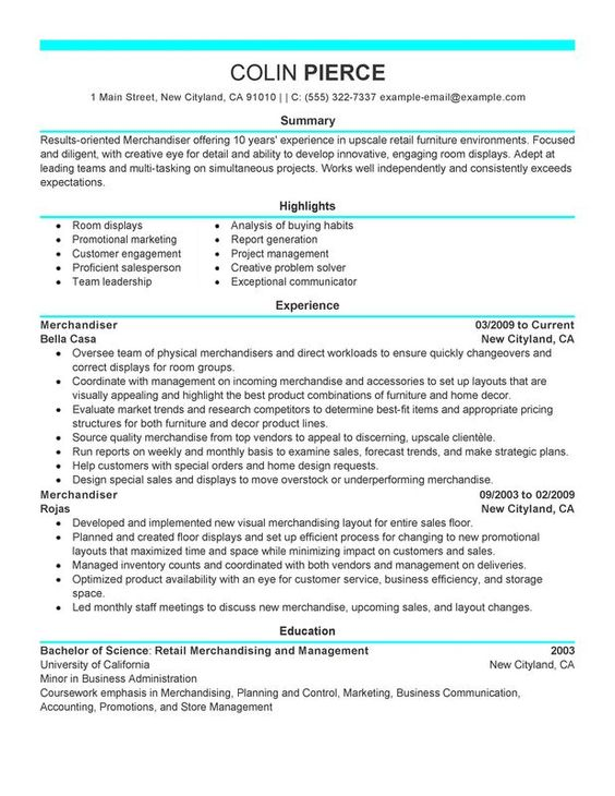 Free Sample Resume For Visual Merchandiser