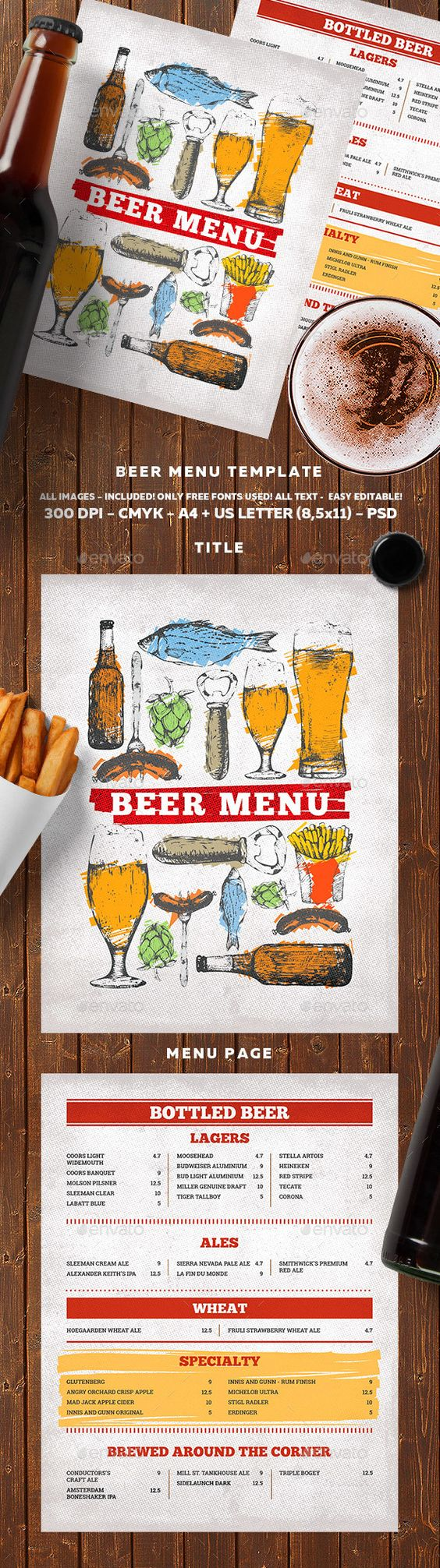 Beer Menu  Menu Templates Menu Printing And Menu