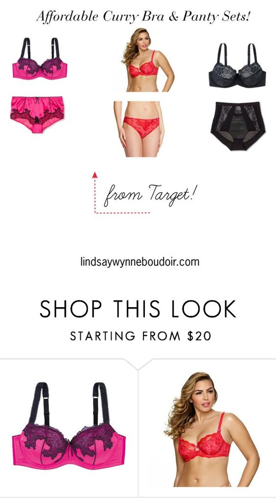 """Affordable Curvy Bra & Panty Sets from Target"" by lindsaywynne on Polyvore featuring lingerie, boudoir and lindsaywynneboudoir"