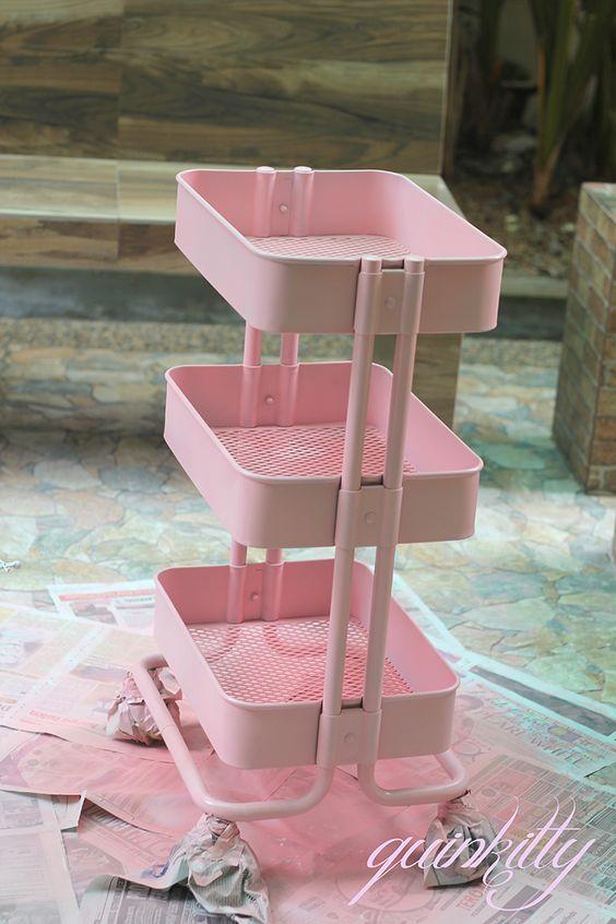 Ikea Raskog Spray Painted Pink Beauty Organization