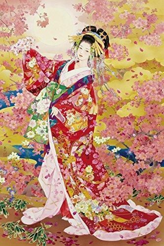 2016 Piece Jigsaw Puzzle Japanese Beauty Dancing Oiran in Spring Cherry blossom