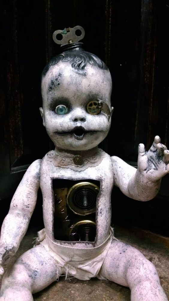 Tick Tock creepy steampunk doll by EleganceOfTheHeart on Etsy