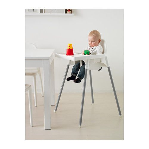 ANTILOP Highchair with tray silver colour white, silver
