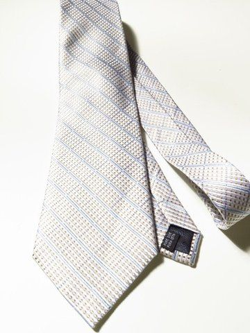 Savile Row Co Silk Tie Cream Silver Gold Blue Vintage Clothing Men Mens Formal Wear Second Hand Designer Clothes
