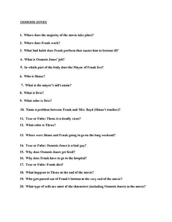 Movie Quiz: Osmosis Jones Worksheet   Lesson Planet:   Education ...