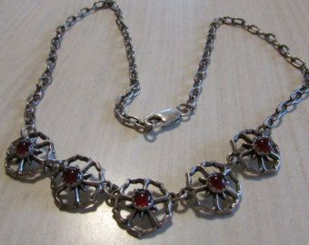 Sterling Silver and Carnelian Necklace