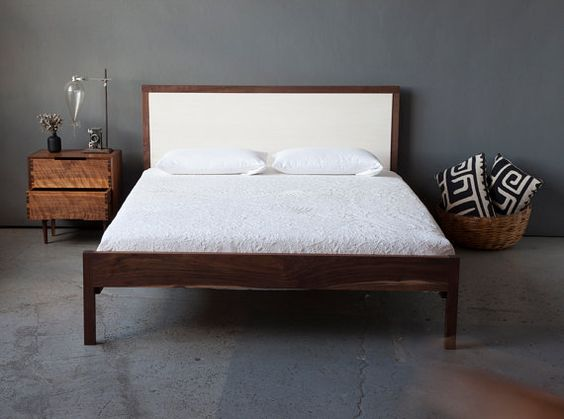 Walnut and White Ash Queen Bed by sukrachand on Etsy, $2950.00