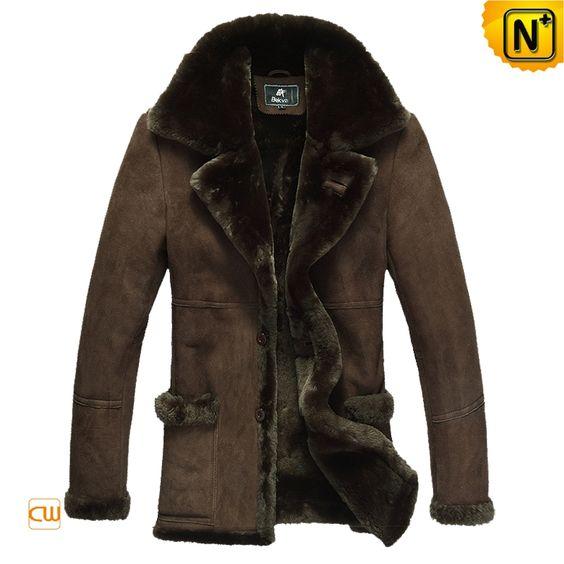 Men&39s Luxury Sheepskin Lamb Fur Lined Leather Winter Coat CW819139