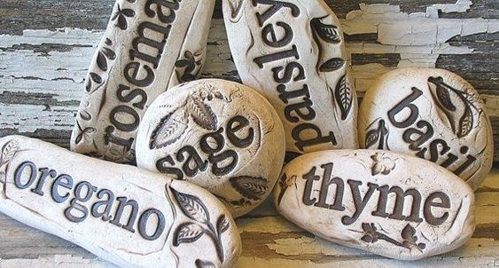 Try To Diy These With Some Mortar Urban Gardening Plant Markers Herb Garden Stones By Dragonflyarts Try To Diy T Urban Garden Garden Stones Plant Markers