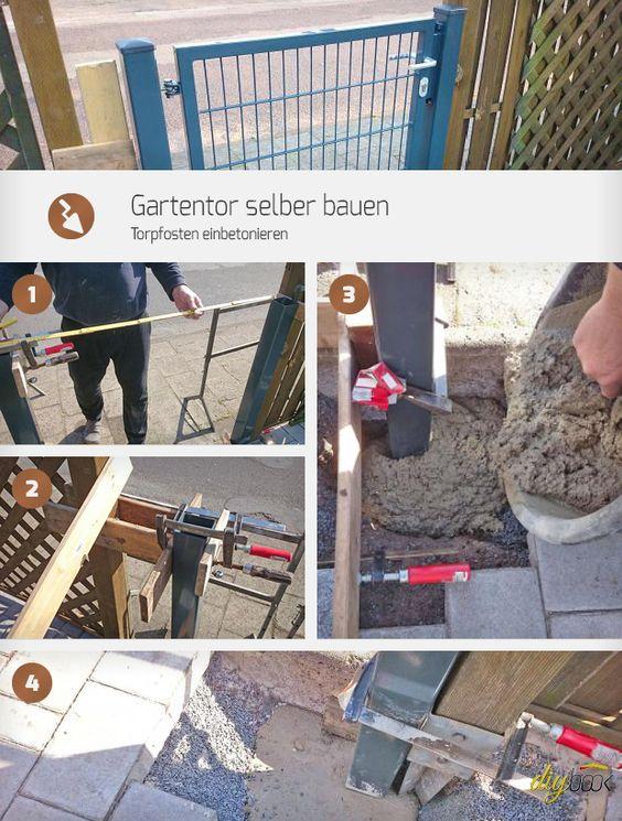 Gartentor Selber Bauen Torpfosten Einbetonieren Anleitung Diybook De Gartentor Selber Bauen Garten