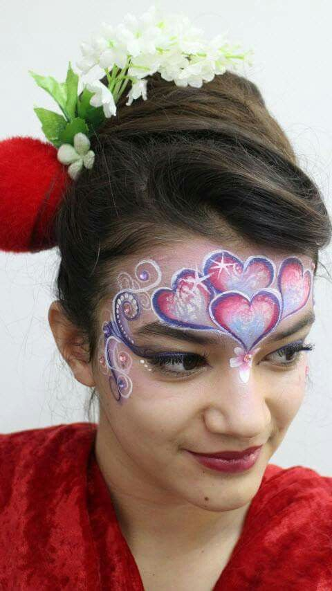 Valentines heart face painting