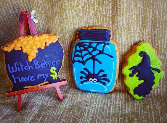 Witch better have my money! Halloween cookies pumpkin spice flavored decorated with Royal icing