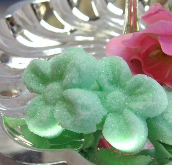 Mint Green Flower Shaped Sugar Cubes 3 dozen by WishingwellArt