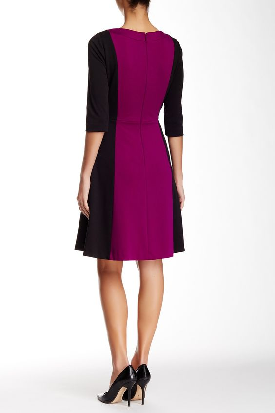 Elbow Length Sleeve Colorblock Ponte Fit & Flare Dress by Tahari on @nordstrom_rack Sponsored by Nordstrom Rack.