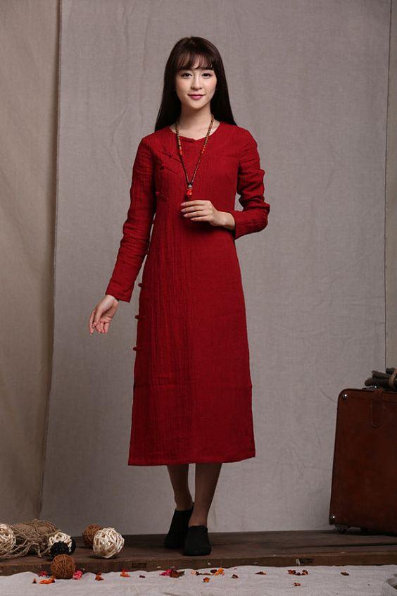 Red Tunic Dress / Longsleeve winter linen dress by camelliatune