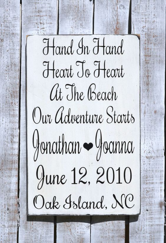 Custom Wood Wedding Sign, Beach Wedding Gift, Personalized Hand In Hand Heart To Heart Adventure Rustic Wooden Plaque, Nautical Decor
