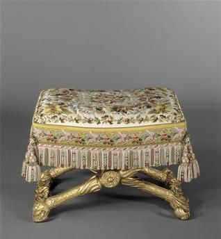 Tabouret of the Comtesse d'Artois' bedroom at Versailles, this was from the winter set of furniture: