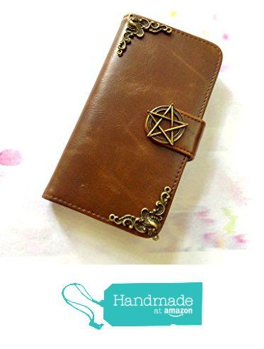Handmade leather Apple iPhone 6, 6+ case with magic circle decorations and pentagram