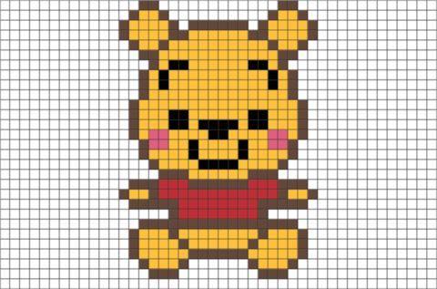 Baby Pooh Pixel Art Pixel Minecraft Pixel Art Easy Pixel Art Pixel Art Pattern
