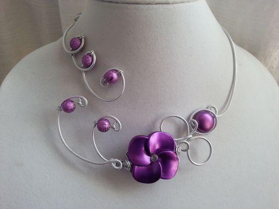 """""""Parure de mariage lilas mauve"""", """"parure de bal"""", """"collier en fil aluminium"""", """"bijoux violet"""" : Parure par bijouxlibellule"""