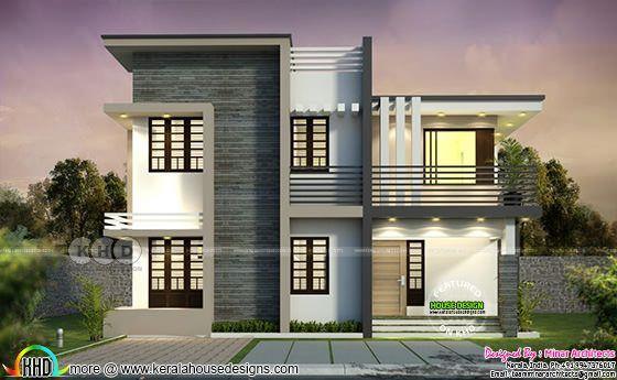 1800 Square Feet Flat Roof 4 Bhk Home Plan Kerala Home Design Kerala House Design House Front Design Kerala Houses