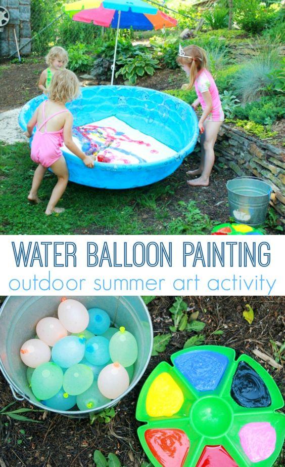 Water balloon painting outdoor summer art activity for Outdoor pool sculptures
