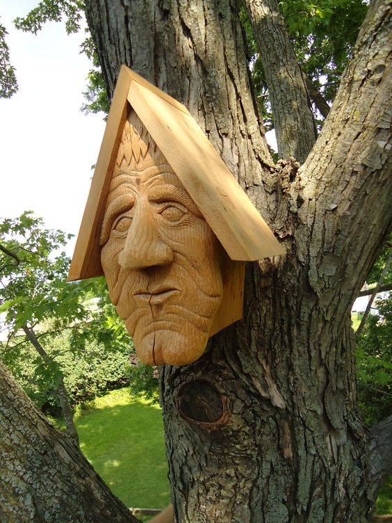 Unique cedar wood birdhouse hand carved face with a