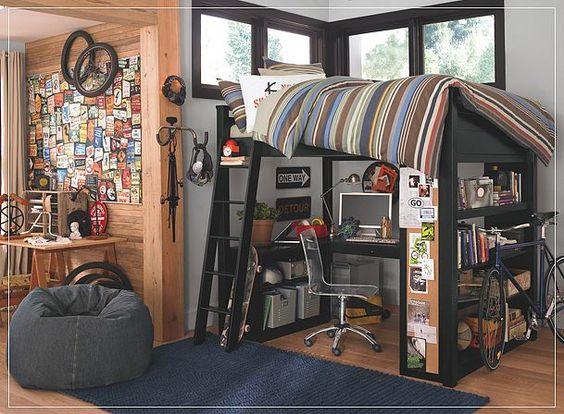 Pottery barn teen gray walls black bed striped bedding - Habitaciones juveniles modernas ...